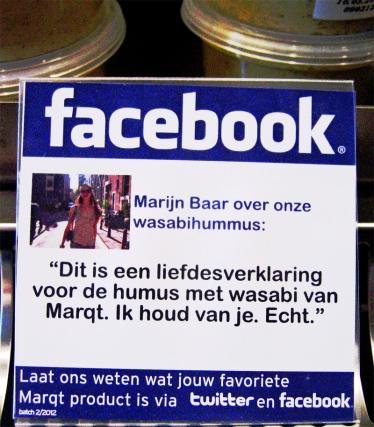 Facebookreactie op Marqt-product