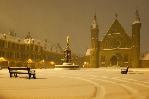 Binnenhof in sneeuw