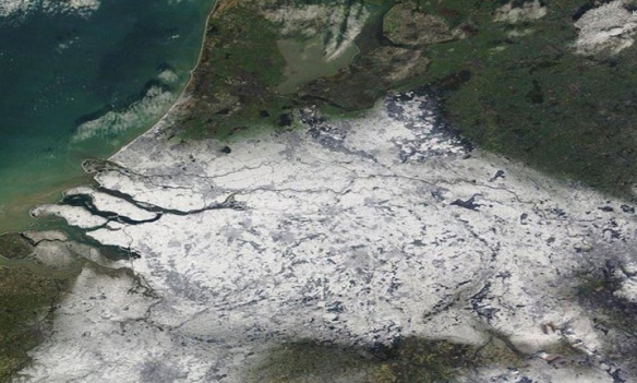 Satellietfoto sneeuw NASA