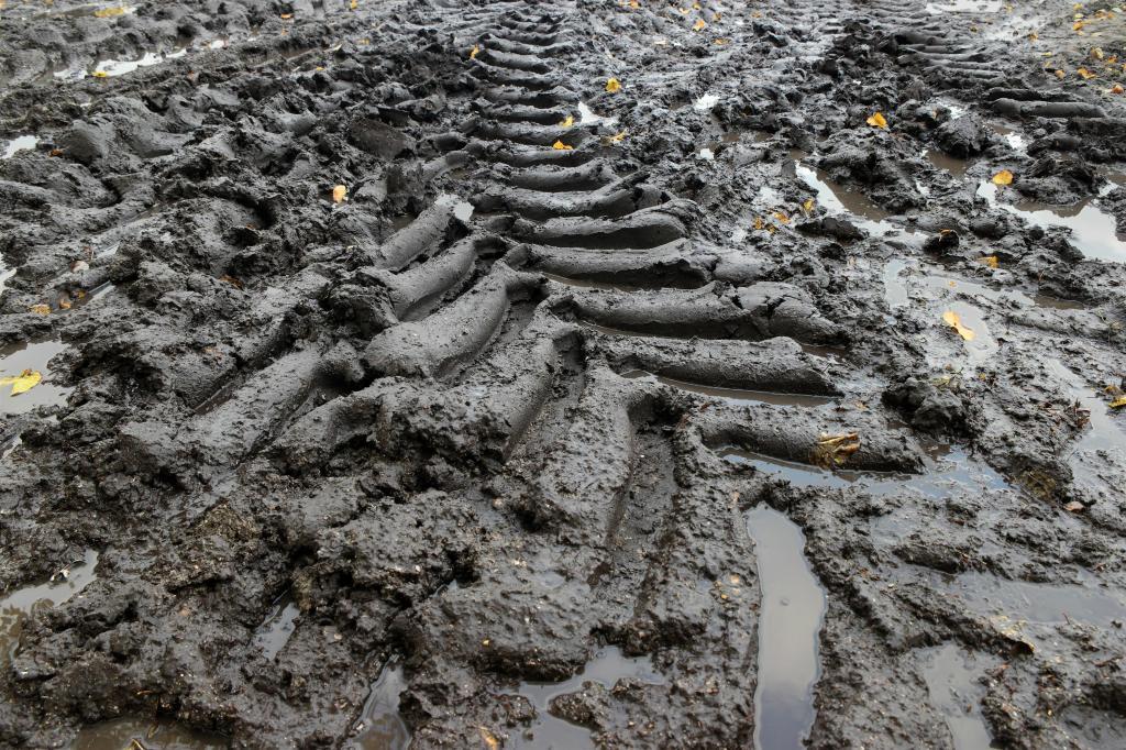 Tractorbandensporen modder Malieveld